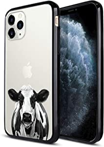 FINCIBO Case Compatible with Apple iPhone 11 Pro Max 6.5 inch 2019, Slim Shock Absorbing TPU Bumper + Clear Hard Protective Case Cover for iPhone 11 Pro Max (NOT FIT 11 Pro) - Cute Black Spot Cow