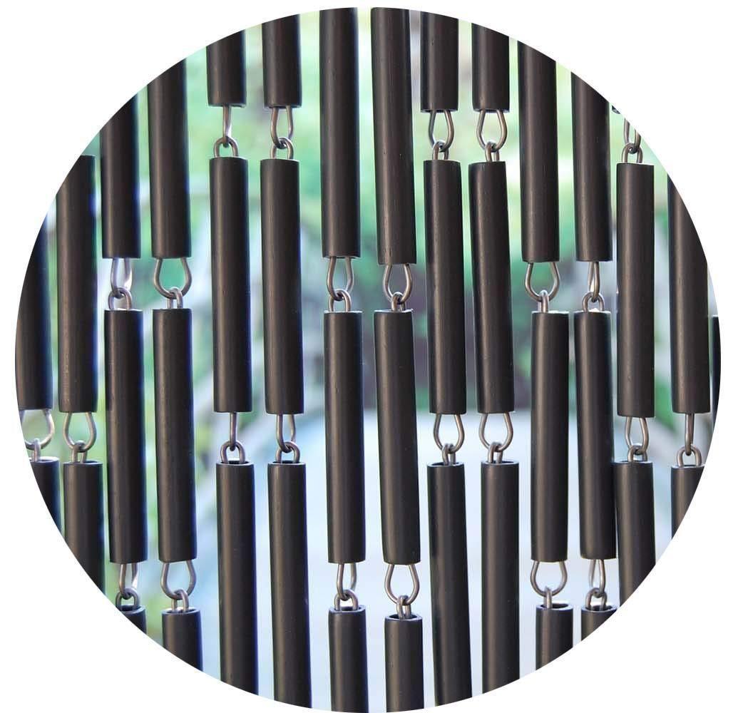 La Tenda Rideau de Porte en polyéthylène Anthracite et Acier Campos 100x230 cm