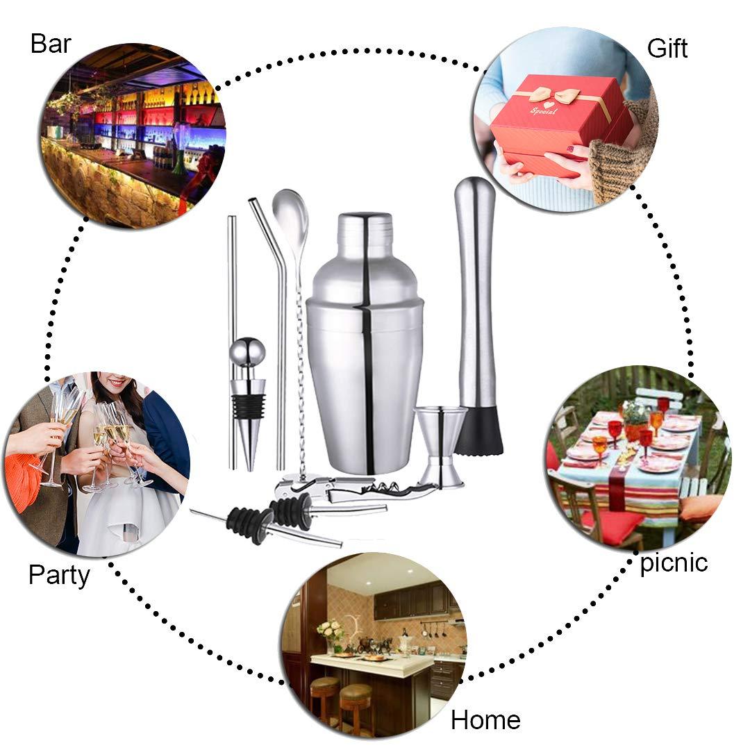 LANSEYQO - Juego de mezcladores para cócteles con base de bambú giratoria, juego de batidores de acero inoxidable profesional para barra de cocina en casa, ...