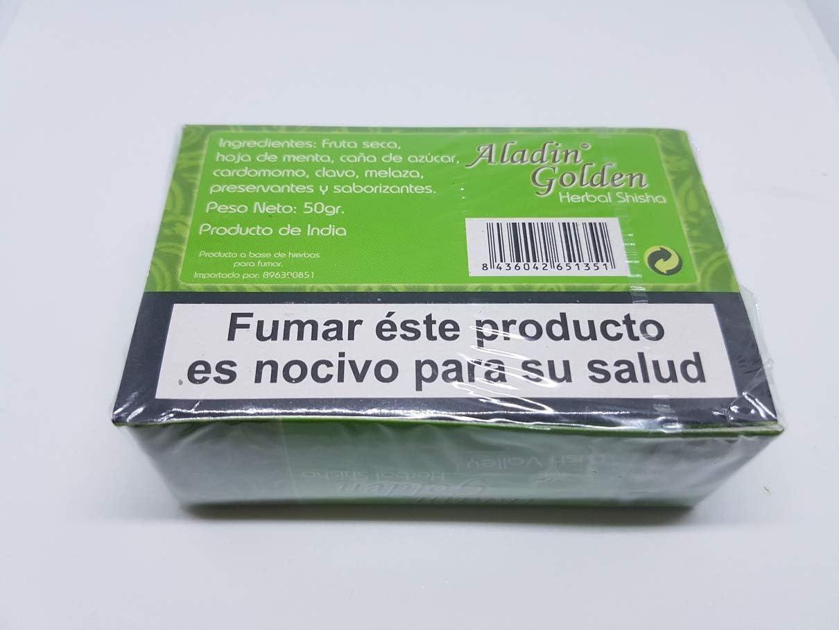 Aladin Golden Herbal Shisha Tabaco sin nicotina para Cachimba 450 g Varios sabores (melaza)