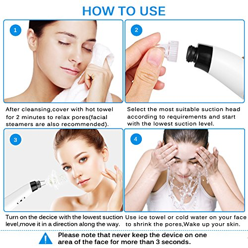 Blackhead Remover, Pore Vacuum Electric Blackhead Vacuum Extractor Clean Tool - Comedo Pore Extracotr Beauty Device with 6 Probes for Blackhead Remover Vacuum Suction Cleanser Microdermabrasion