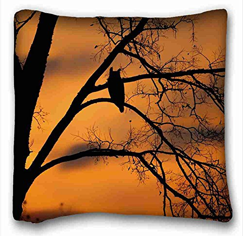 - Soft Pillow Case Cover ( Animals silhouette sunset tree owl bird ) Standard Size Pillowcase for Hair & Facial Beauty Size 16x16 Inches suitable for X-Long Twin-bed PC-Purple-2225