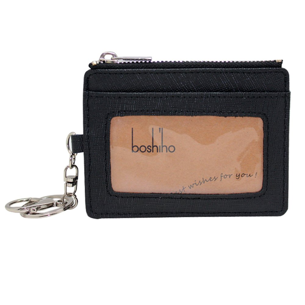 Boshiho Saffiano Leather Credit Card Holder Coin Change Purse with Key Ring Keychain