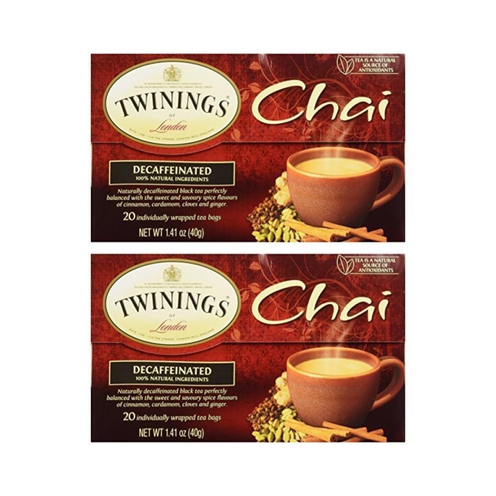 Twinings Tea Chai Tea, Decaf, 20 ct (Pack of 2)