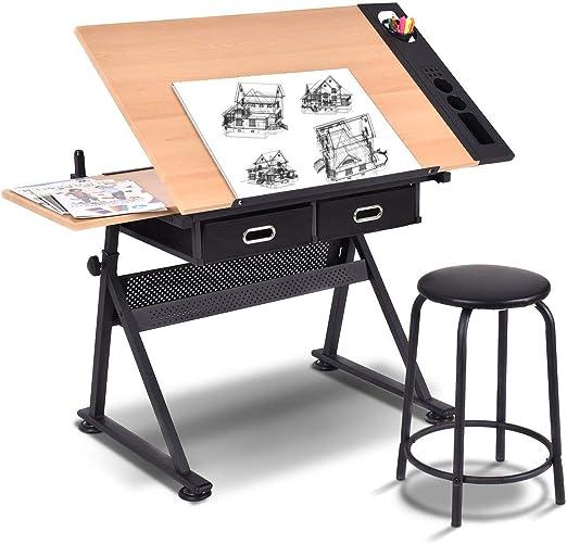 COSTWAY Mesa de Dibujo para Arte Diseño Ángulo y Altura Ajustable ...