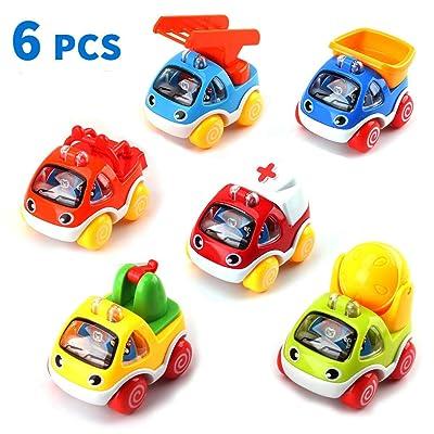 Amy & Benton Juguete Coches,Vehículos Camiones De Juguete, 6PCS Tire hacia Atrás el Coche de Juguetes para Niños Niñas: Juguetes y juegos