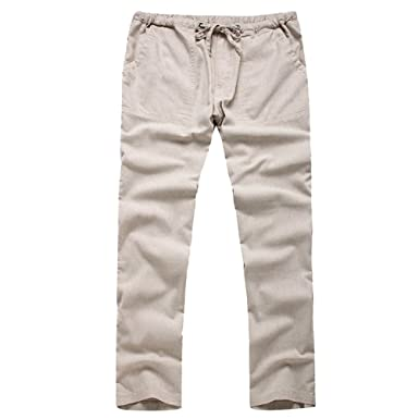 f338f90764 Byqny Men's Loose Lightweight Casual Large Size Cotton Blend Linen Trousers  Fit Straight Pants