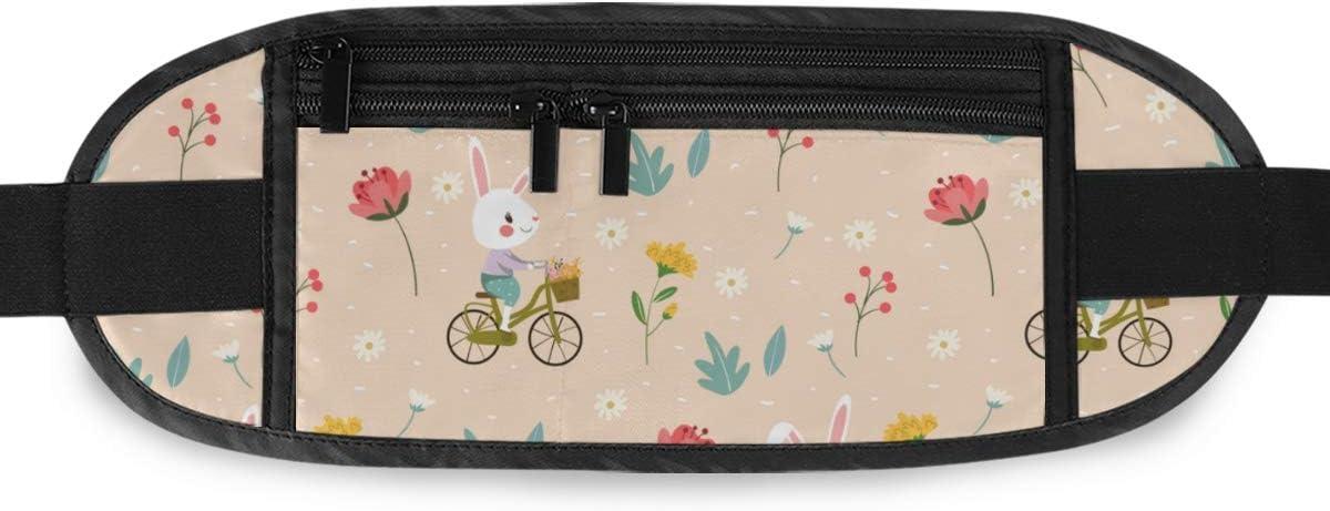 Travel Waist Pack,travel Pocket With Adjustable Belt Cute Rabbit Biking Among Variety Flower Running Lumbar Pack For Travel Outdoor Sports Walking