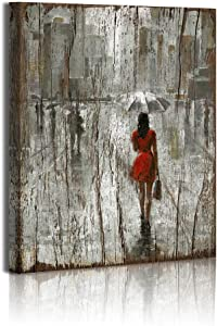 Rustic Red Umbrella Fashion Woman Painting Canvas Framed Art Wall Decor Romantic Paris Street Prints On Canvas Ready to Hang for Living Room Bathroom Decorations Bathroom Wall Decoration 12x16inch