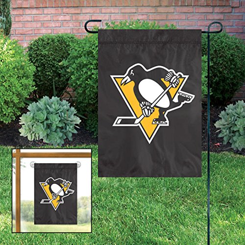 """Pittsburgh Penguins Embroidered Weather Resistant Nylon Mini Flag 15"""" x 10.5"""" from Hockey Card World"""