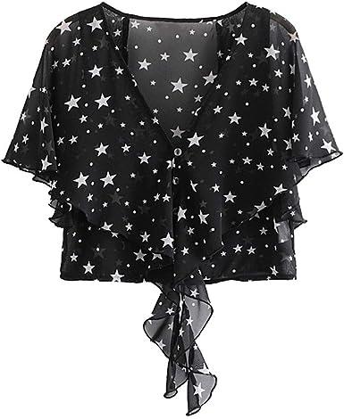 Camisa Negra para Mujer Estrellas Blancas Camisas Casuales Blusa con Volantes con Cuello en v Blusa de Manga Corta Blusas con Dobladillo Fiesta de Uso Diario: Amazon.es: Ropa y accesorios