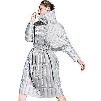Abrigo largo de la chaqueta de las mujeres, Abrigo de Invierno para Mujer Solapa Ultra Light Down Jacket Slim Solid Long Down Jacket Mujer portátil Parkas,Silvergrey,L: Hogar