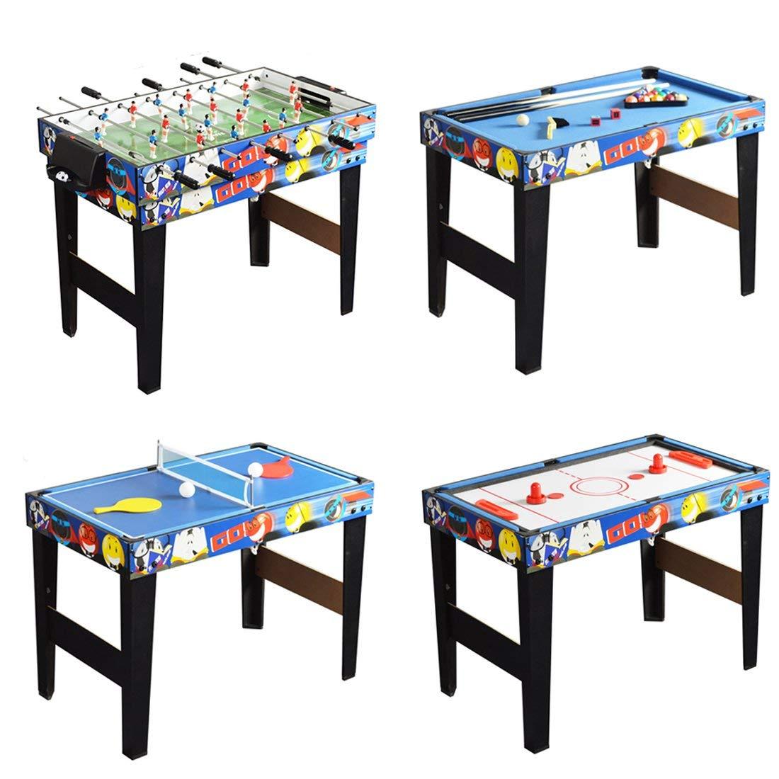 QYBK Deluxe 4 in 1 Top Game Table -Table Tennis,Glide Hockey,Foosball,Pool,Basketball Set by QYBK