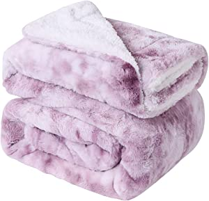 Yukowgu Cozy Tie Dye Faux Fur Blanket Throw, Fuzzy Reversible Sherpa Blankets for Bed Couch Room Décor (Wistful Mauve, Twin 60 x 80 inches)