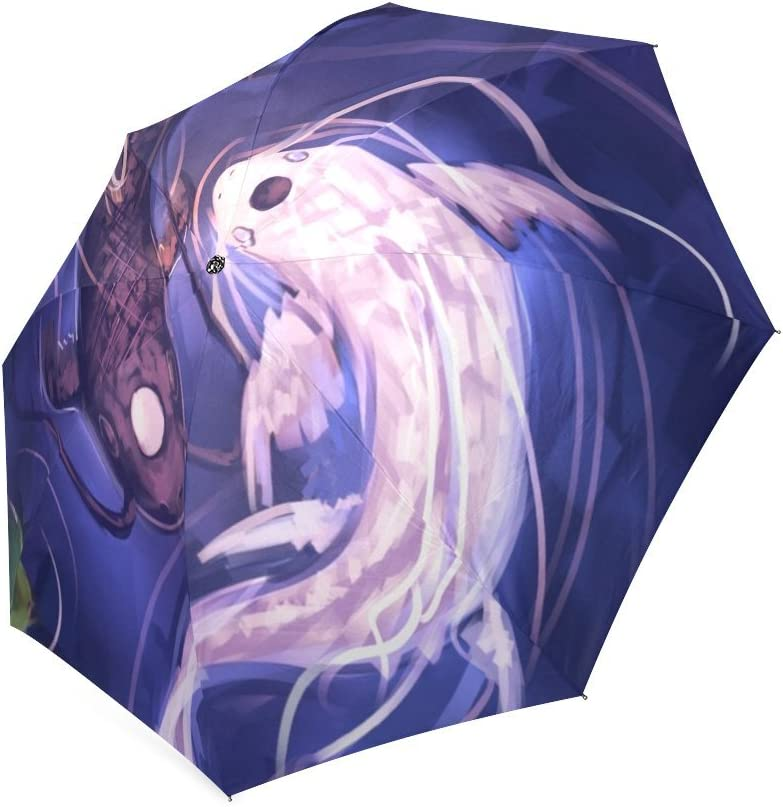 Japanese Koi Fish Folding Rain Umbrella Parasol Windproof Travel Sun Umbrella Compact