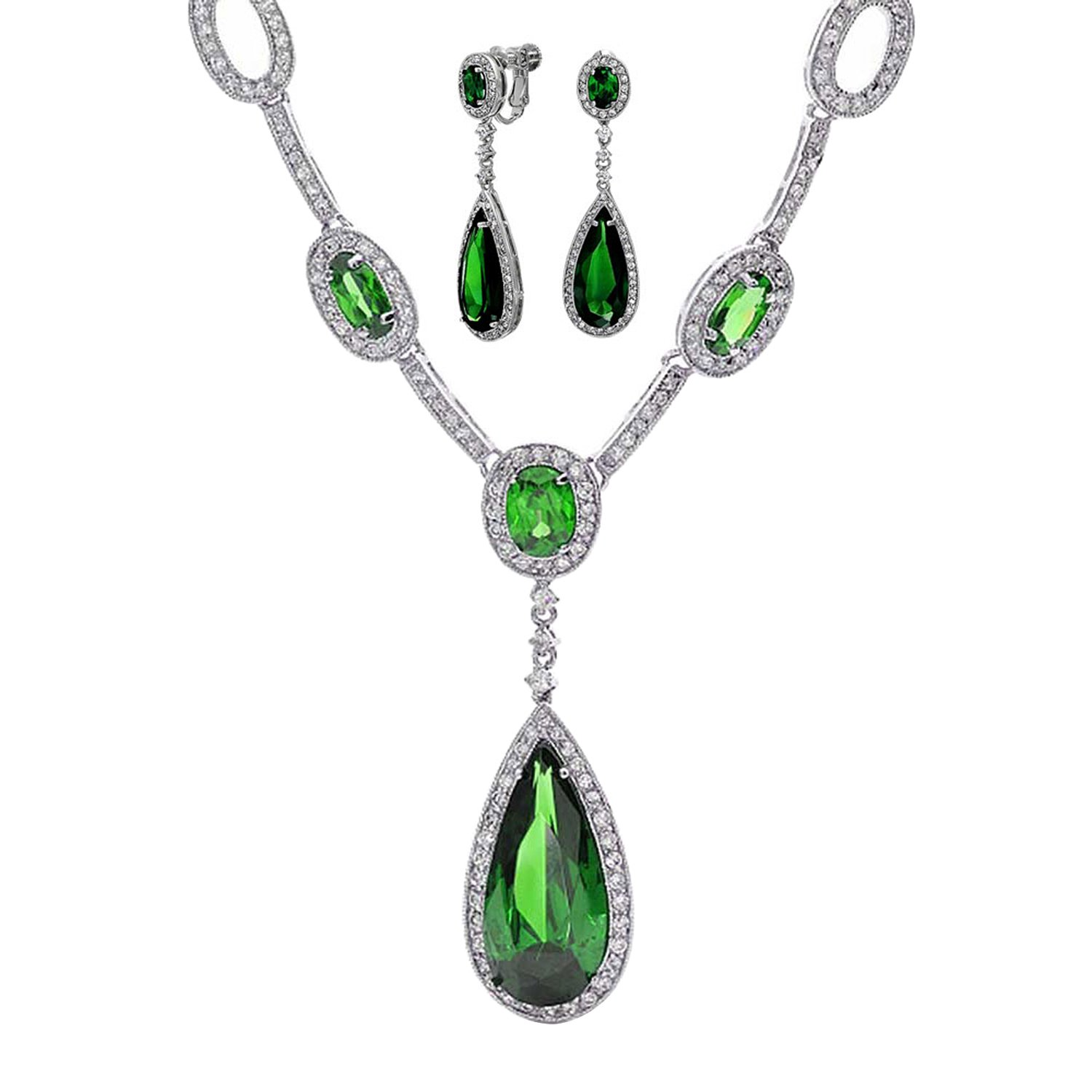Bling Jewelry Simulated Emerald CZ Necklace Clip Ons Set Rhodium Plated