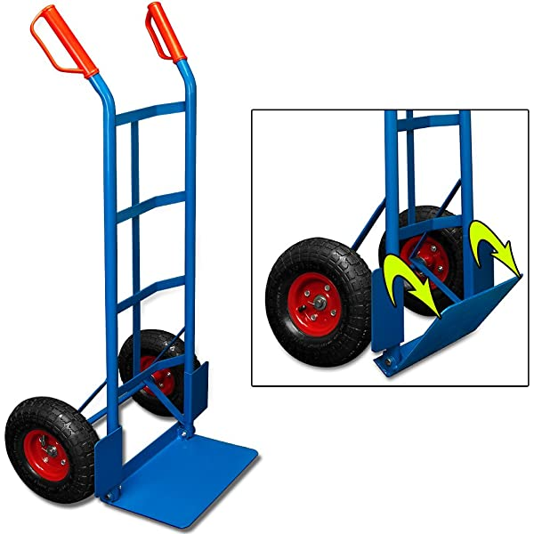 75KG Folding Sack Truck Hand Industrial Trolley Wheel Tyre Pneumatic Barrow New