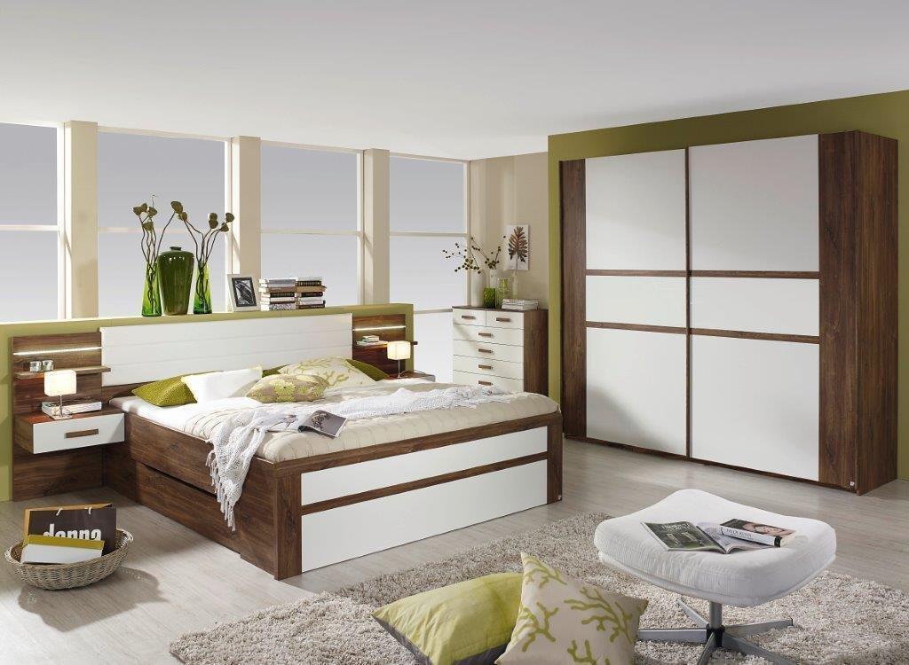 Komfort Schlafzimmer Bergen Eiche Weiß Komplett Mit Beleuchtung Günstig  Bestellen