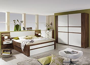 Komfort Schlafzimmer Bergen Eiche Weiß Komplett Mit Beleuchtung
