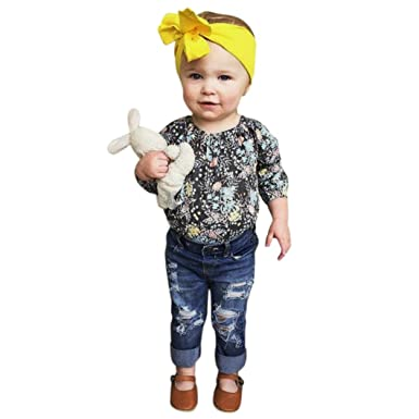 8315c099b Minisoya Fashion Toddler Kids Baby Girls Floral Tops Ripped Holes Jeans  Denim Pants 2Pcs Outfits Clothes