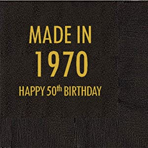 Mandeville Party Company, 50 count Black Cocktail/Beverage Napkins, Happy 50th Birthday - Made in 1970