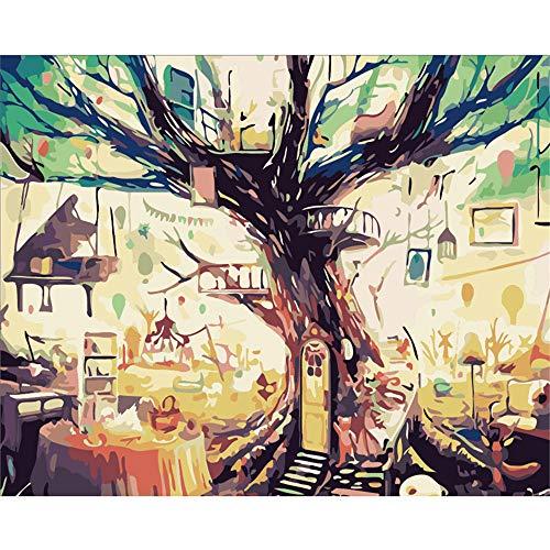 Pintura por numeros para Adultos Juguete Piano Mesa de Comedor Bajo el Gran arbol Art Work Wall Deco DIY 40X50CM Sin Marco