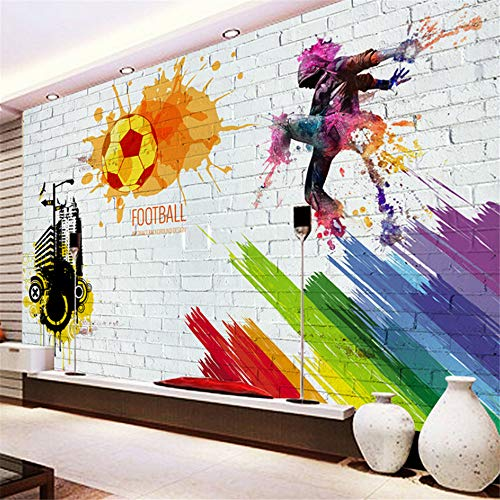 Pbldb Custom Wall Mural Brick Wall City Graffiti Football Basketball Large Murals Bar Restaurant Living Room Decor Non-Woven Wallpaper-400X280Cm by Pbldb (Image #2)