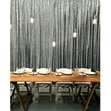 ShinyBeauty 5FTx7FT-Gunmetal-Sequin Backdrop, Sparky Wedding Sequin Fabric Photography Backdrop, Party Event Elegant Photo Booth Decoration