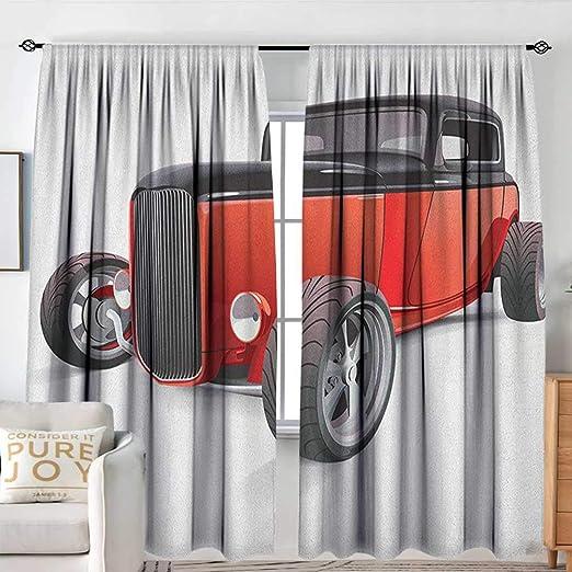 Sillgt Cortina para Puerta corredera de Coches con diseño de Coche en un Soleado y Divertido día de Verano con autobuses Coloridos para Camiones de Escape, fusibles opacos para recámara: Amazon.es: Hogar