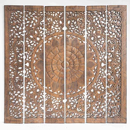 Mandala Bed Headboard Hand Carved Wall Hanging Panels Handmade From Reclaimed Teak Wood Thailand