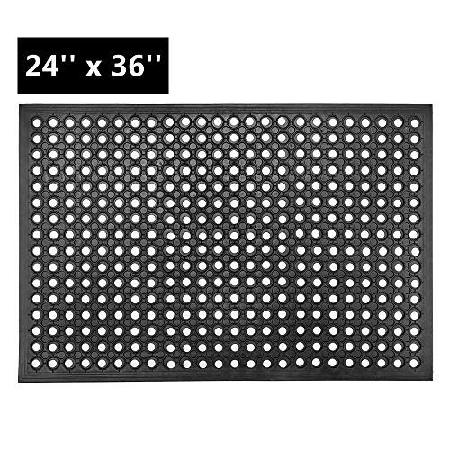 ROVSUN Rubber Floor Mat with Holes, 24''x 36'' Anti-Fatigue/Non-Slip Drainage Mat, for Industrial Kitchen Restaurant Bar Bathroom, Indoor/Outdoor Cushion
