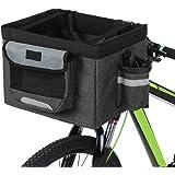 Honeytecs Foldable Bicycle Front Basket Removable Bike Pet Basket Pet Dog Cat Rabbit Carrier Tote Bag