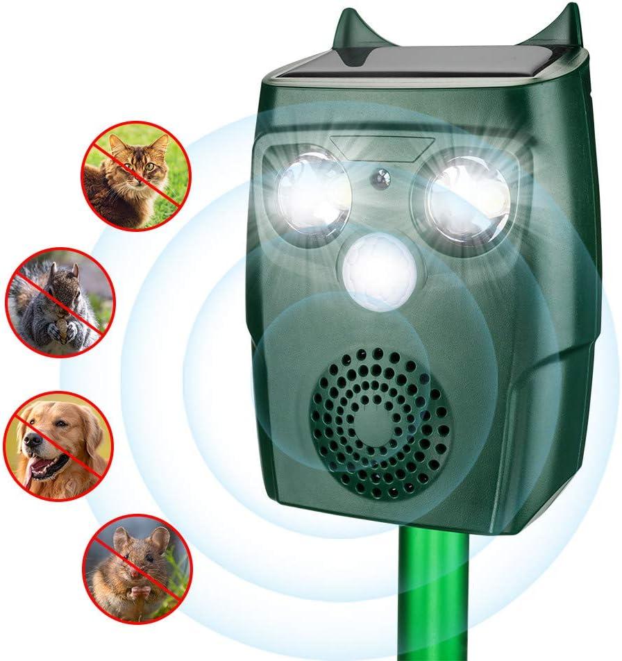 ULTPEAK Repelente Gatos,3 Modos Repelente Solar de Animales Ultrasónico, Repelente de Topos para Uso al Aire Libre, Ratones, Perroas, Pájaros