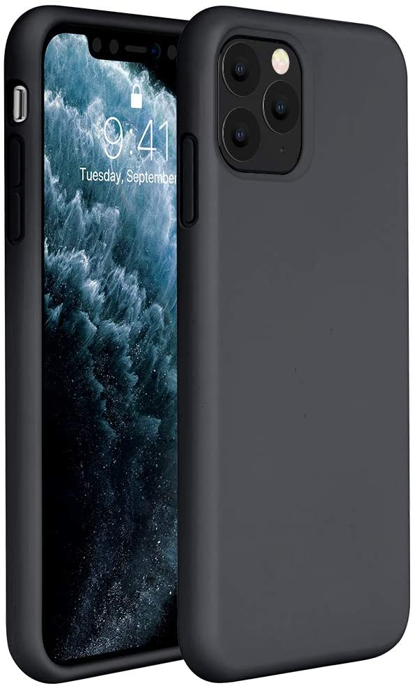 Miracase Liquid Silicone Case Compatible with iPhone 11 Pro Max 6.5 inch(2019), Gel Rubber Full Body Protection Shockproof Cover Case Drop Protection Case (Black)