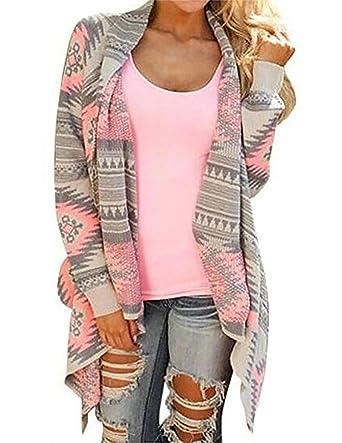 Myobe Women\u0027s Aztec Print Drape Open Front Drape Boyfriend Cardigan Sweaters,  Small, Pink Red