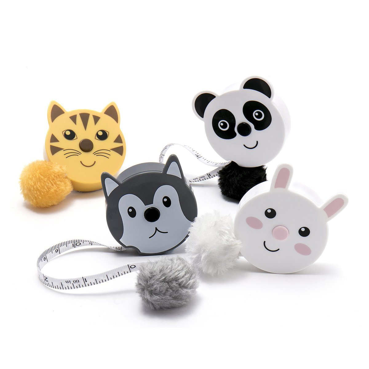 Bunny Rabbit Cute Animal Retractable Tape Measures with Fluffy Pom-Pom Tail and Lanyard Hole