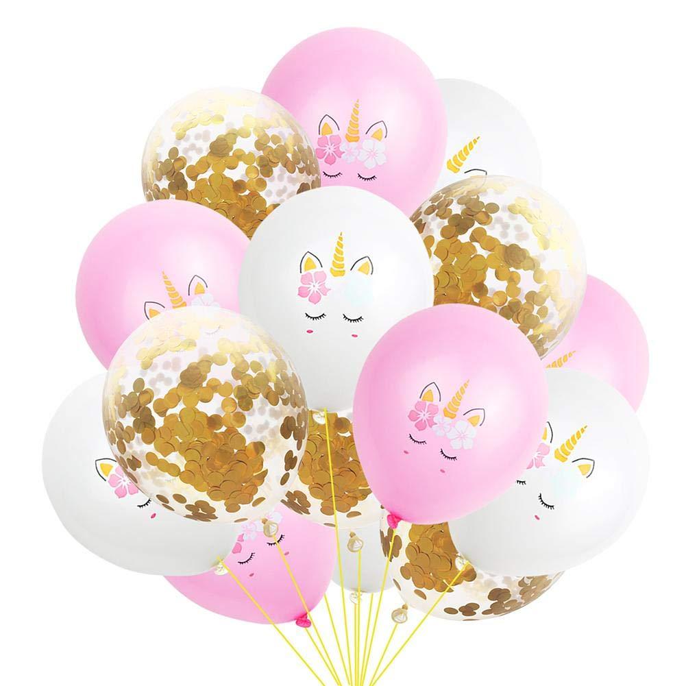 15 piezas Globos de fiesta de l/átex Unicornio Globos,Unicornio Globos de l/átex para la Fiesta de Cumpleaos Celebraciones de Boda Oro Rosa Globos Dorados de Confeti