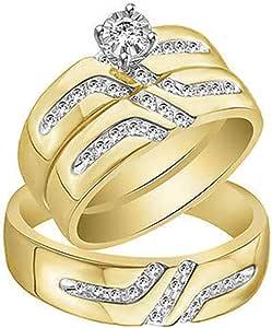 IGI CERTIFIED 1/4 Carat (ctw) Round Diamond Men & Women's Wedding Ring Trio Bridal Set In 14K Yellow Gold Over