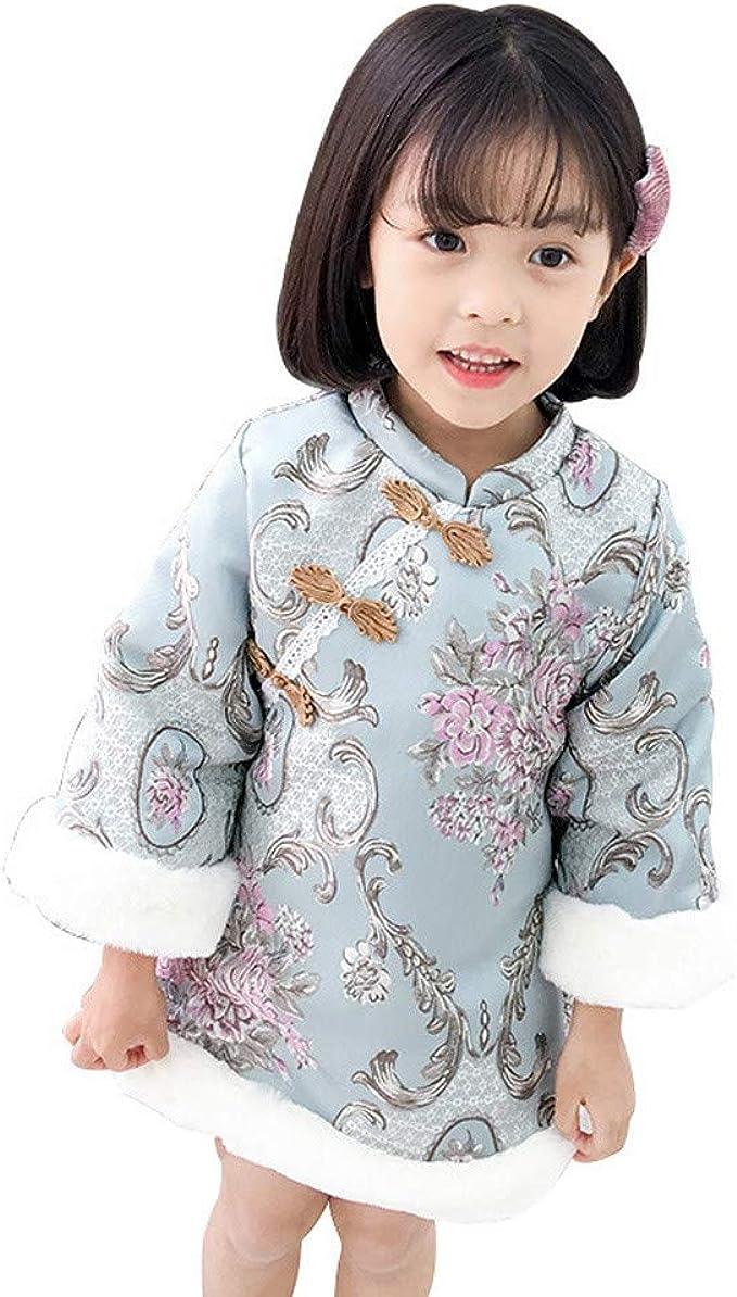 Hooyi Winter Chinese Style Girl Dress Cotton Sleeveless Kids Cheongsam Baby Girls Qipao
