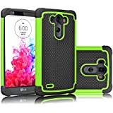 LG G3 Case, Tekcoo(TM) [Tmajor Series] [Green/Black] Shock Absorbing Hybrid Rubber Plastic Impact Defender Rugged Slim Hard Case Cover Shell Skin For LG G3 AT&T T-mobile Sprint Verizon Unlocked
