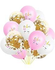 15PCS Party Globos de unicornio de confeti de oro rosa Globos de decoración de banquetes de boda Decoración del banquete de boda del globo del confeti de la novia
