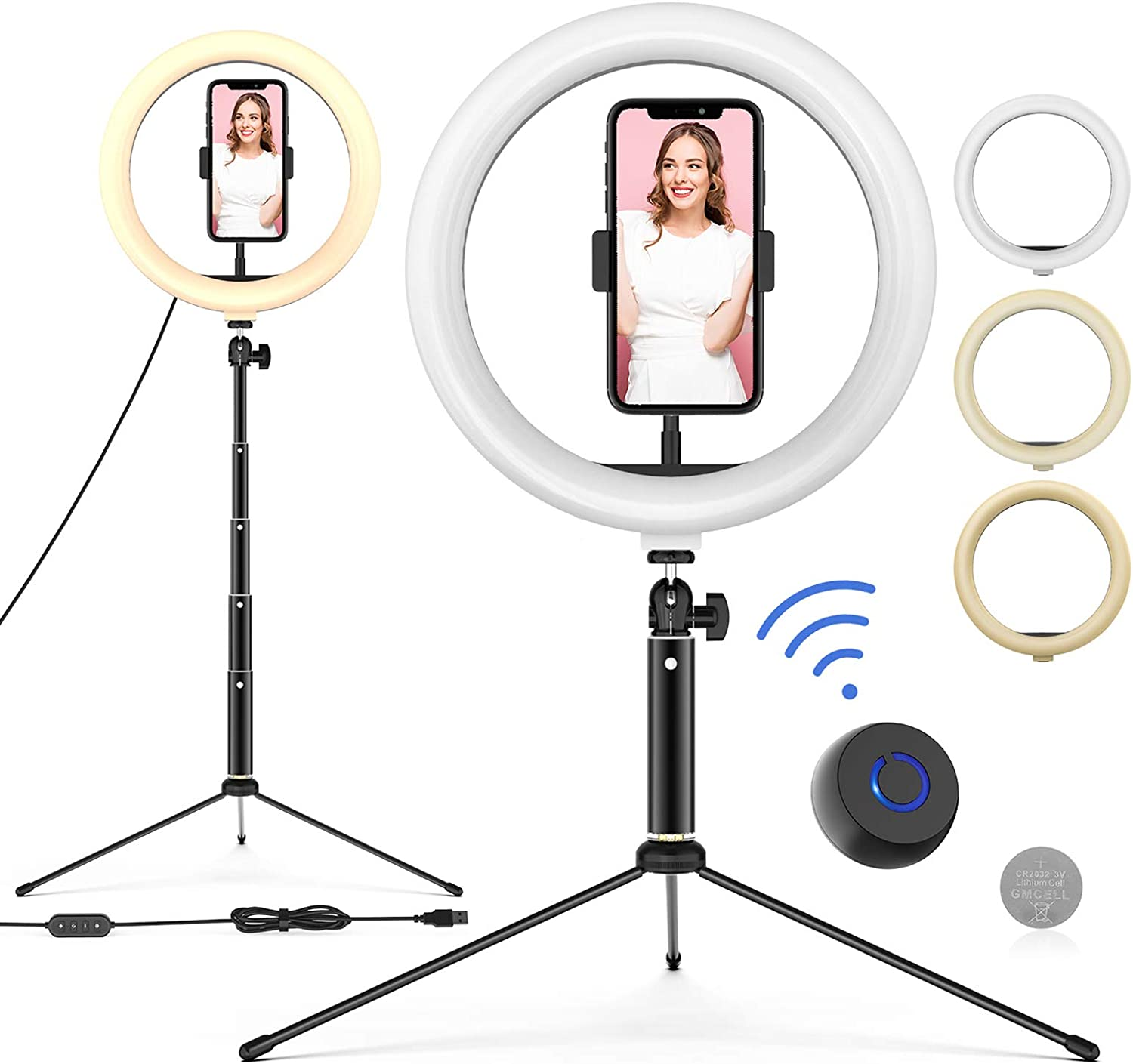 """10"""" LED Ring Light with Tripod Stand Adjustable & Phone Holder, Bluetooth Remote Shutter for Makeup/Live Stream/YouTube Video/Photography, Compatible with iOS/Android - WONEW ZJ02"""