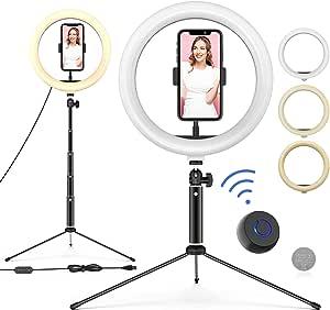 """WONEW Anillo de Luz LED 10"""" de Escritorio,3 Colores 10 Brillos con Regulables Bluetooth Control Remoto, USB, Trípode con Soporte Giratorio de Teléfono para Selfie/Maquillaje/Youtube/TIK Tok"""