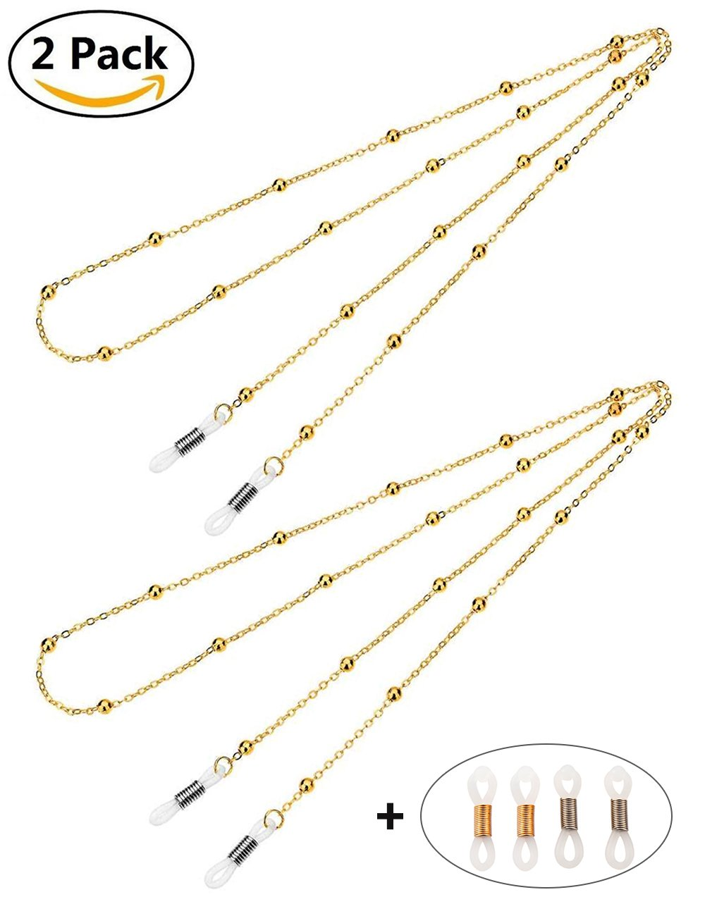 Mini Tree Eyeglass Chains for Women Beaded Reading Glasses Cords Sunglasses Holder Strap Lanyards Eyewear Retainer (Gold + Gold)