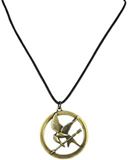 Amazon the hunger games movie mockingjay pendant on leather the hunger games necklace pendant necklace on leather cord brooch mozeypictures Image collections