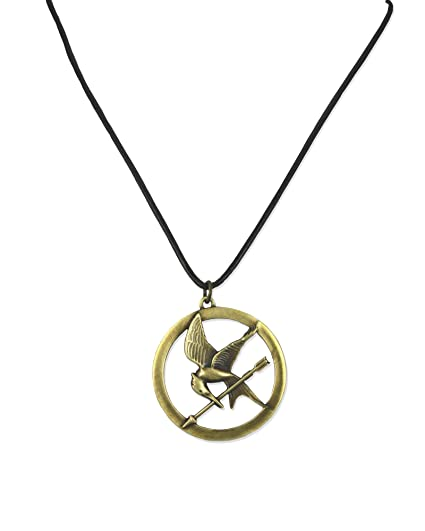 Amazon the hunger games necklace pendant necklace on leather the hunger games necklace pendant necklace on leather cord quotbroochquot aloadofball Images