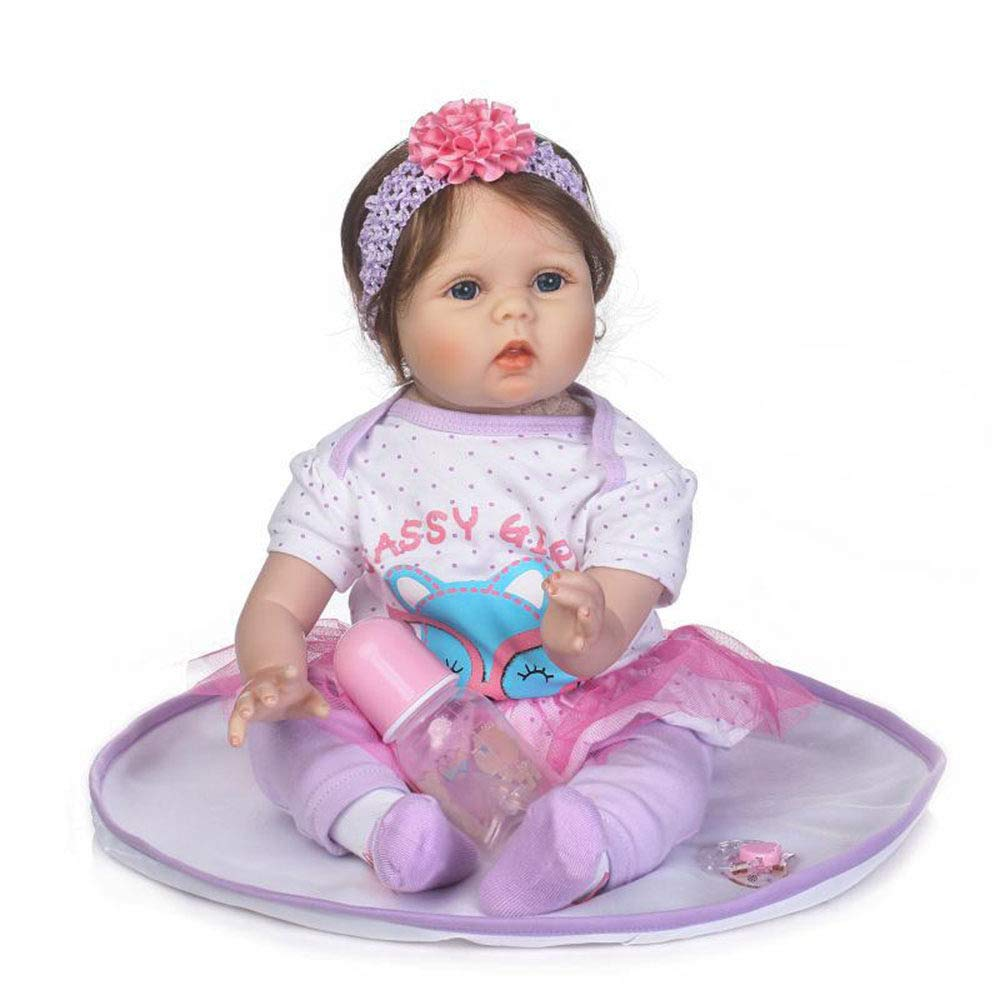 LUCKYFANWU Simulation doll, realistic reborn doll, 55 cm, can sit down, can lie down, baby companion toys, boy and girl toys, newborn