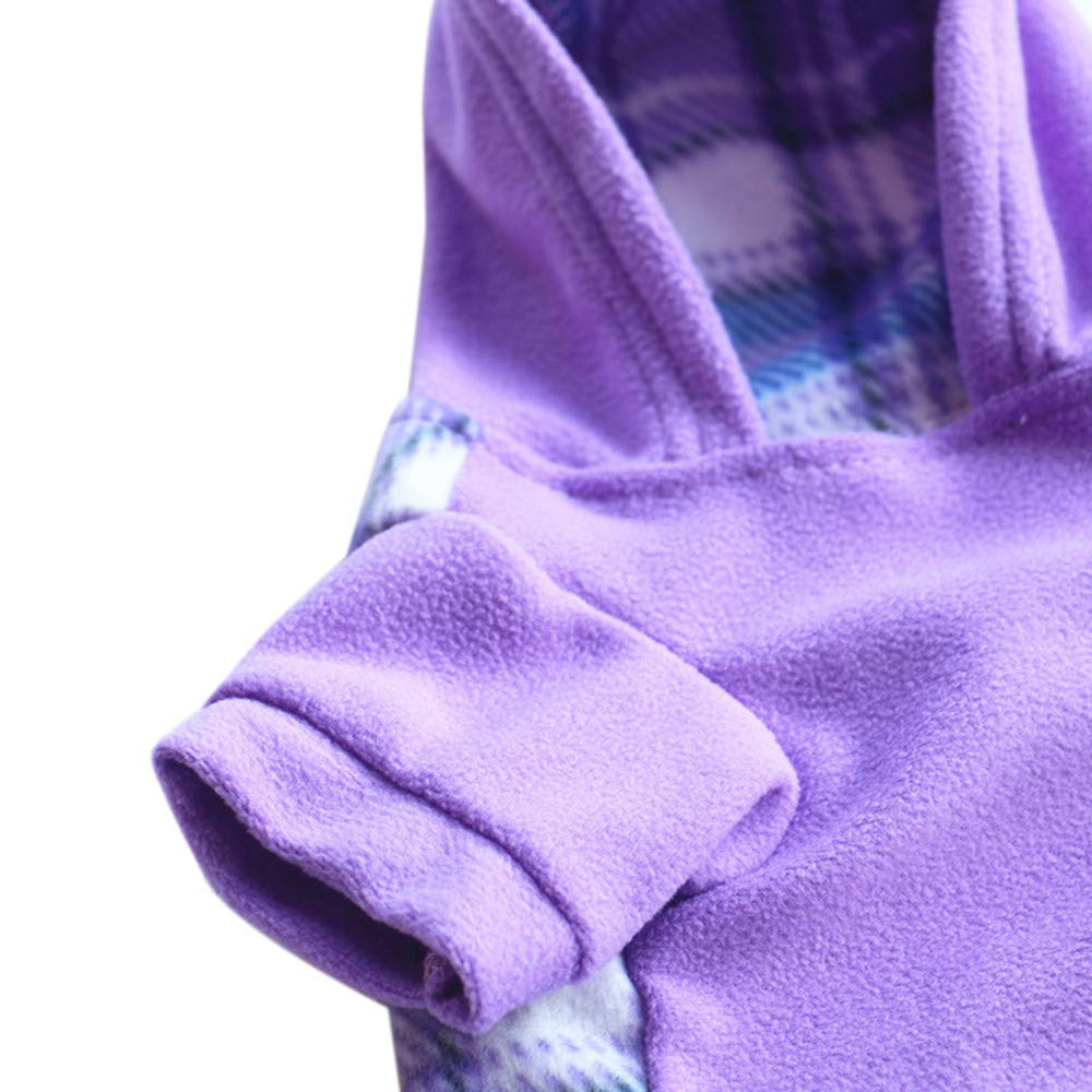 Pet Polyester Hoodied Sweatshirts with Pocket Autumn Winter Warm Cute Dog Puppy Polyester Clothes Pet Clothing Wine Red, XL