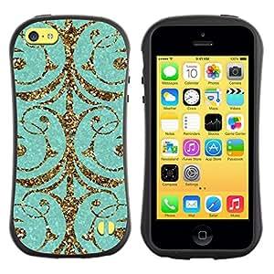 """Hypernova Slim Fit Dual Barniz Protector Caso Case Funda Para Apple iPhone 5C [Patrón del brillo del oro Puerta Espumoso""""]"""