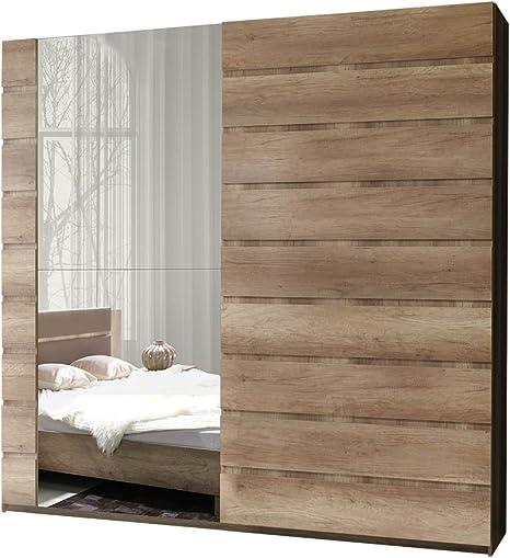 Miro 11 12 Modern Wardrobe With Mirror Wardrobe Bedroom Cabinet Sliding Door Bedroom Set Amazon De Home Kitchen